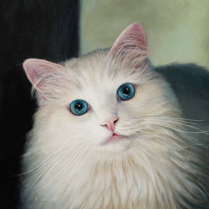 pet portrait painting of white cat
