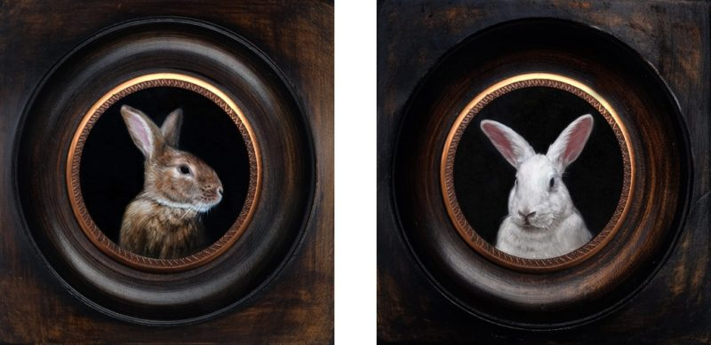 Pair of rabbit miniature portraits