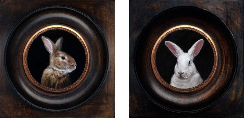 Pair of rabbit miniature portraits
