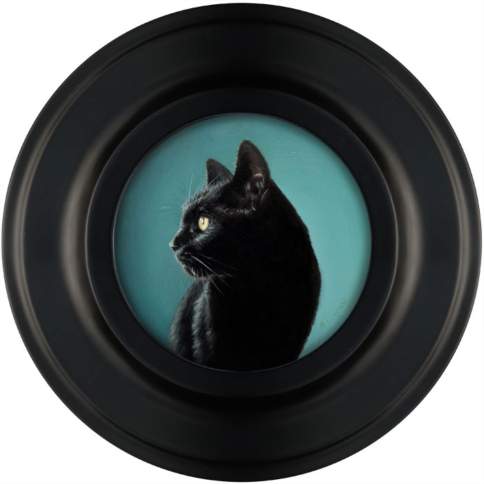 black cat oil painting miniature by Rebecca Luncan