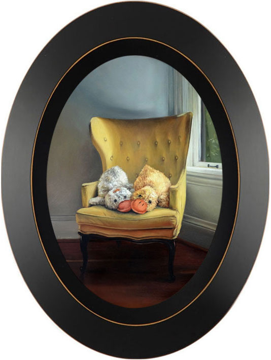Duck stuffed animals in yellow chair oil painting