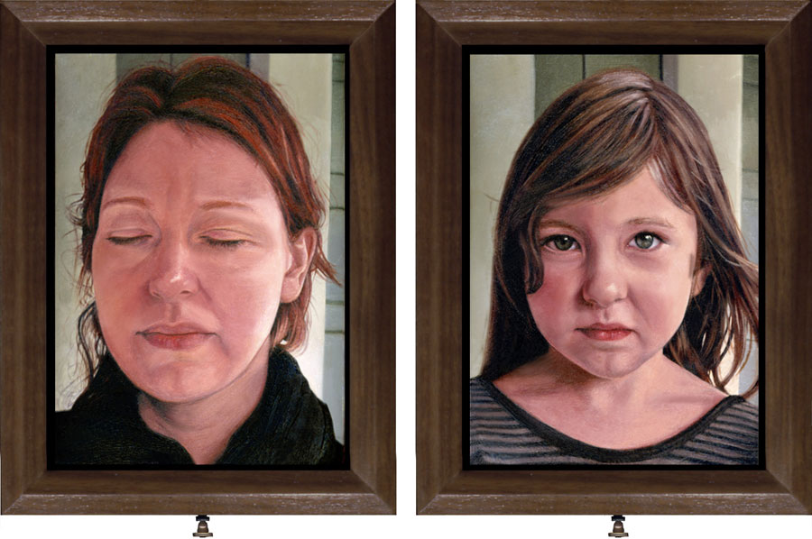 Mother Daughter Double sided, interactive oil Painting on Copper by Seattle artist Rebecca Luncan