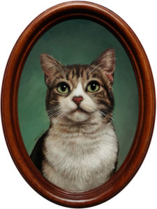 cat pet portrait painting  oil painting miniature by Rebecca Luncan