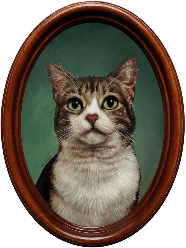 pet portrait cat oil painting miniature by Rebecca Luncan