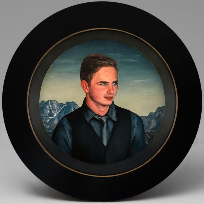 miniature Portrait oil painting of a young man by Rebecca Luncan