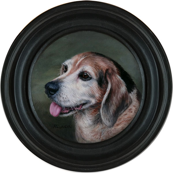 Beagle Hound Dog Pet portrait painting in an Antique Frame by Rebecca Luncan