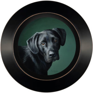 Pet Portrait of Man's Best Friend Black lab miniature oil paining by Rebecca Luncan
