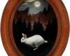 Moon Rabbit, miniature oil painting of white rabbit by Rebecca Luncan
