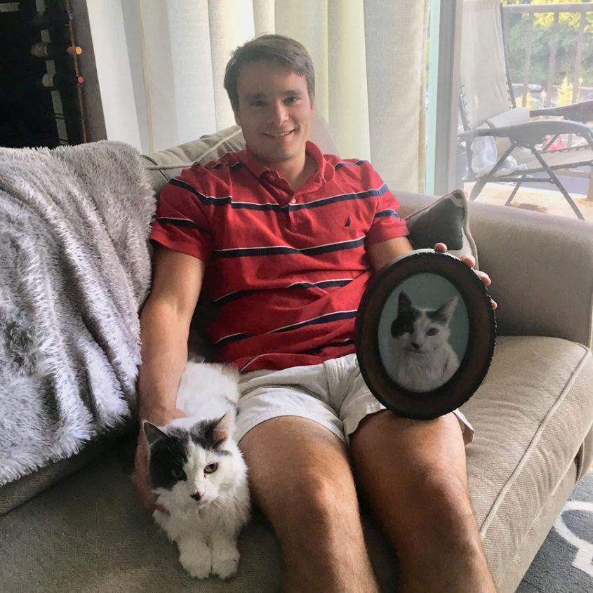 Client with pet portrait