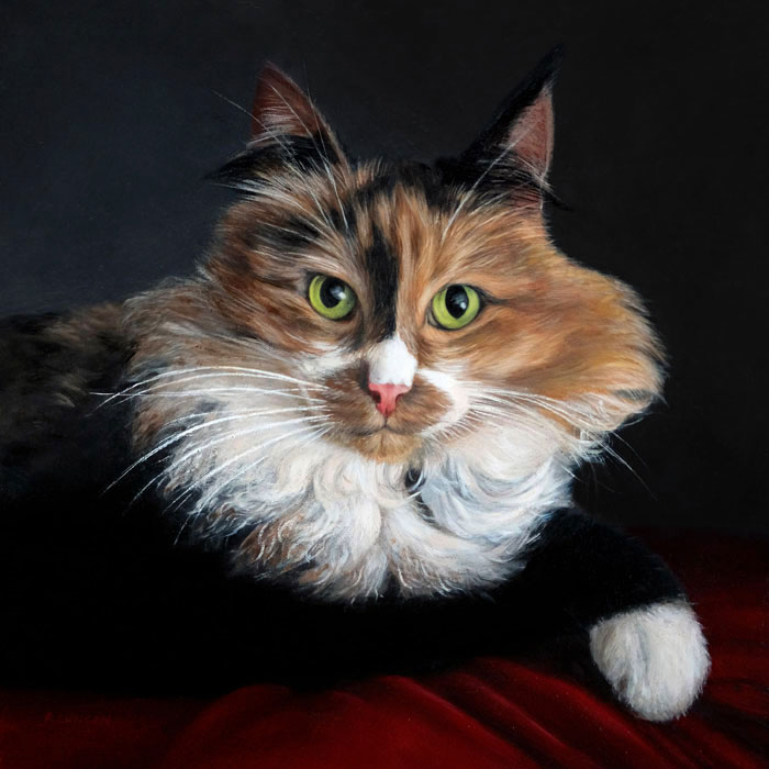 Cat Pet Portrait painting of Lucy reclining by Rebecca Luncan