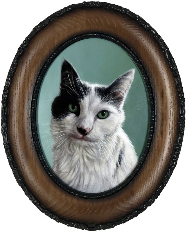 Framed cat pet portrait by Rebecca Luncan