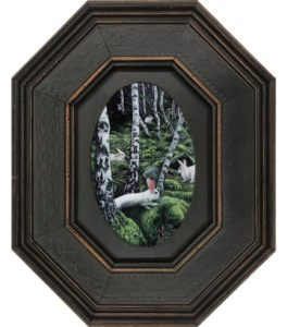 White Rabbit contemporary realism oil painting on aluminum by Rebecca Luncan in octagonal frame