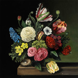 Flowers, Bird's Nest and Insects, still life oil painting by Rebecca Luncan Miniature floral painting