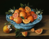 Still life painting on copper with oranges in porcelain bowl by Rebecca Luncan