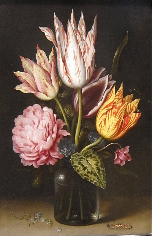 Ambrosius Bosschaert (1573–1621), Still Life with Bouquet of Tulips, a Rose, Clover, and Cyclamen in a Green Glass Bottle, oil on copper