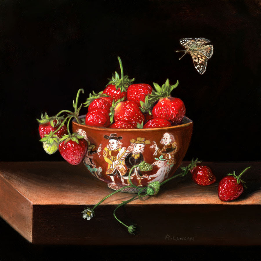 "Miniature oil painting of strawberries and Japanese porcelain on copper by Rebecca Luncan, 5"" x 5"""