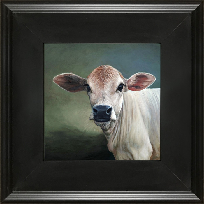 Oil painting portrait of cow (Cheryl) on green background
