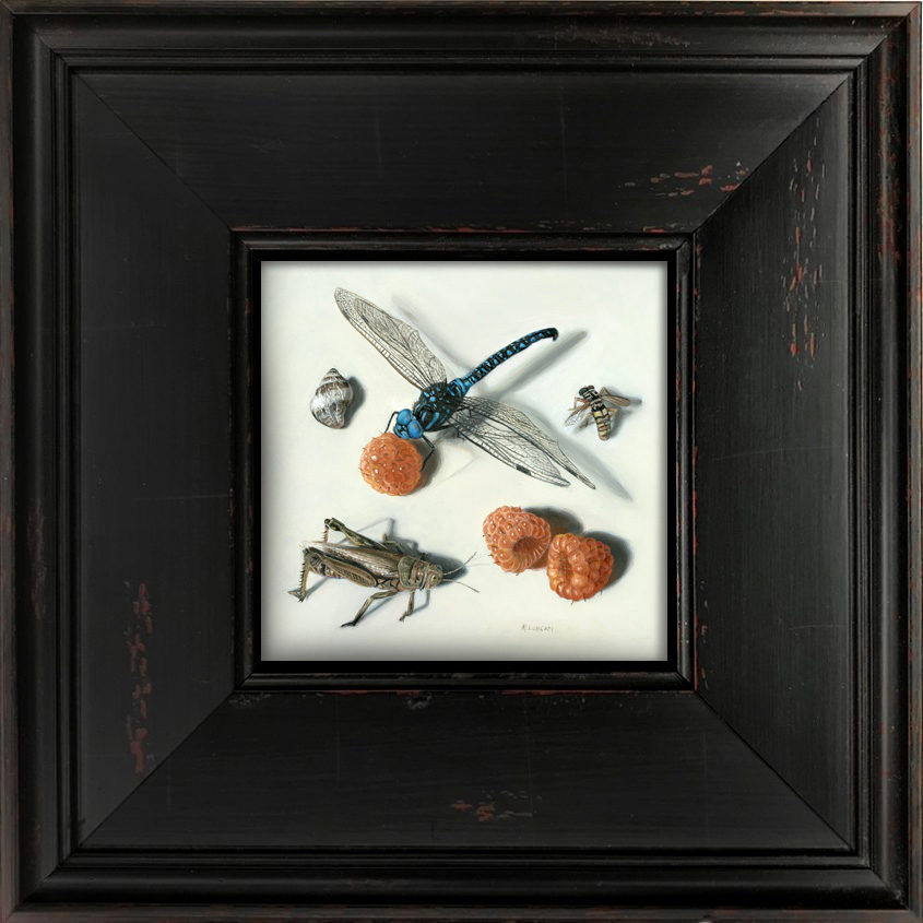 Anita's Insects, miniature oil painting by Rebecca Luncan