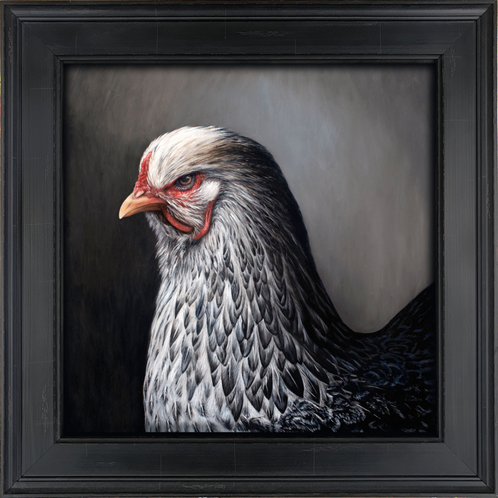 contemporary painting of chicken photorealism by Rebecca Luncan