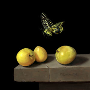 Swallowtail butterfly over Japanese plums, Miniature oil on copper painting by Rebecca Luncan