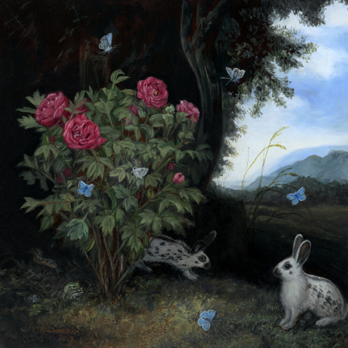 Miniature forest floor still life painting with butterflies and rabbits by Rebecca Luncan