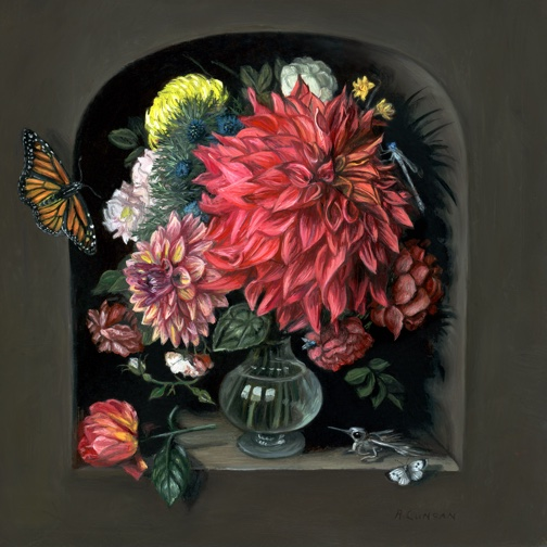 Miniature Vanitas with Flowers and Butterflies oil painting by Rebecca Luncan