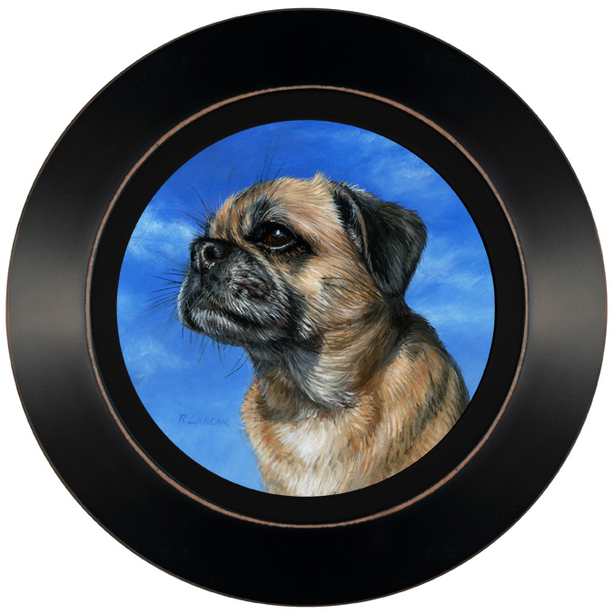 Puggle portrait painting by Rebecca Luncan