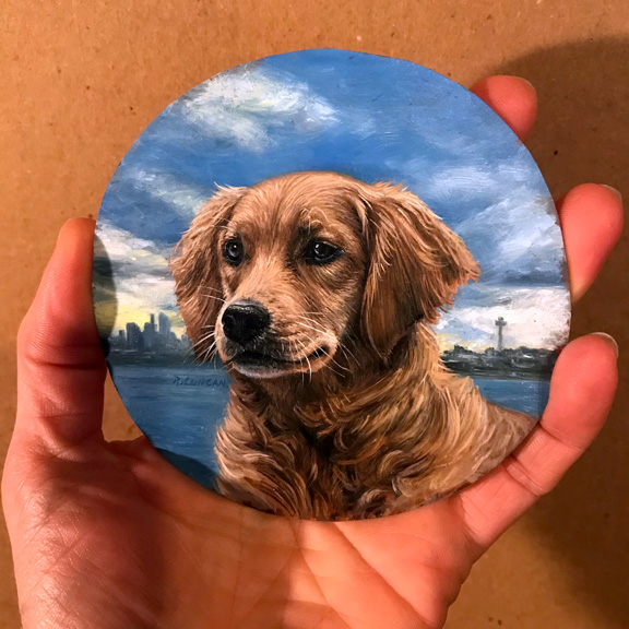 golden retriever portrait painting miniature by Rebecca Luncan