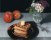 Waffles, apples and dragonfly still life painting by Rebecca Luncan