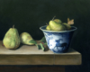 """""""Pears and Japanese Porcelain"""", contempacorary realism still life oil painting on aluminum by Rebecca Luncan"""