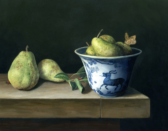 """Pears and Japanese Porcelain"", contempacorary realism still life oil painting on aluminum by Rebecca Luncan"