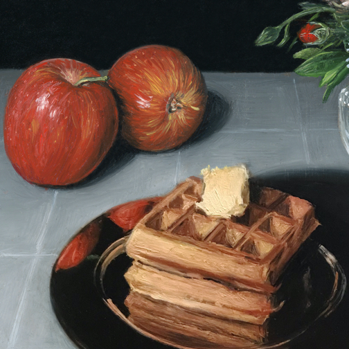 Waffles, apples and dragonfly still life painting detail