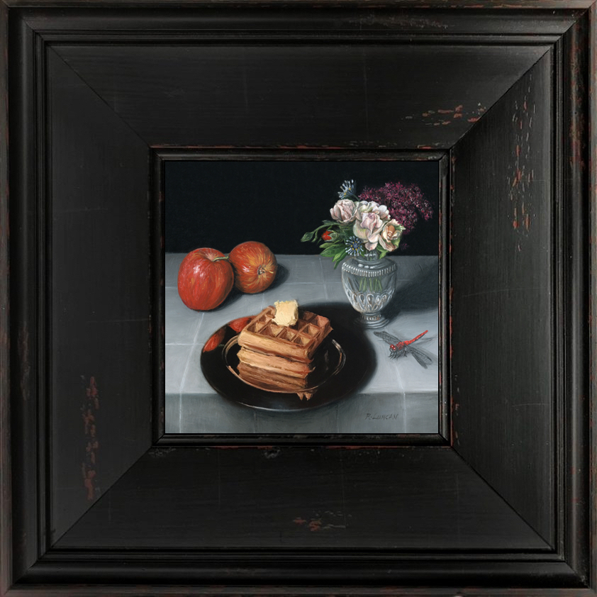 Waffles, apples and dragonfly Miniature still life paintingby Rebecca Luncan