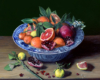 Cara Cara, Yuzu, and Pomegranate in Chinese Porcelain still life painting by Rebecca Luncan