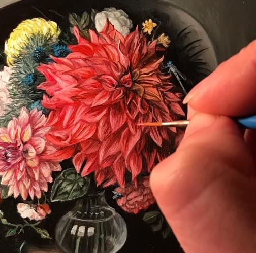Detail of Miniature Vanitas with Flowers, oil painting by Rebecca Luncan