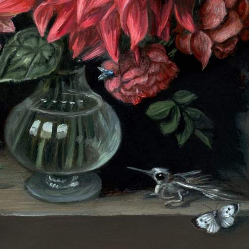 Detail of Miniature Vanitas with Flowers, hummingbird skeleton and Butterflies oil painting by Rebecca Luncan