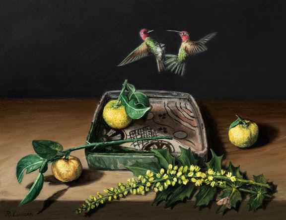 miniature still life painting of fighting hummingbird over Japanese orbi ware porcelain