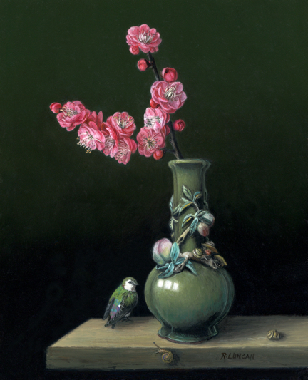 miniature oil painting still life, peach blossom and violet-green swallow with chinese porcelain from the Seattle Art Museum collection by Rebecca Luncan