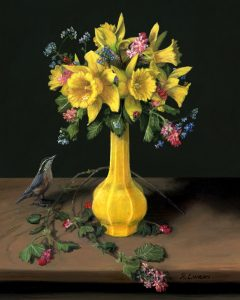 Daffodils Spring Flowers miniature still life painting by Rebecca Luncan