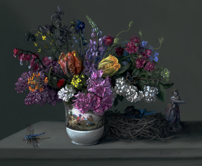 Miniature still life oil painting of boquet and Capodimonte porecelains in the Seattle Art Museum by Rebecca Luncan