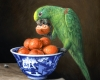 oil painting miniature still life of parrot oranges and chinese porcelain depicting a scene from the West Chamber by Rebecca Luncan