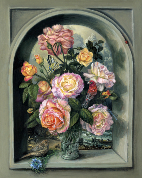 miniature oil painting entitled peace and love featuring roses and birds