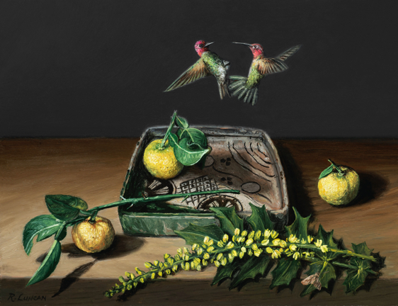 Hummingbirds battle over orbi ware Japanese porcelain, yuzu fruit and oregon grape blossoms. Still life painting by Rebecca Oil on copper