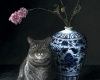 Contemporary realism pet portrait, cat with chinese vase and cherry blossoms bt Rebecca Luncan