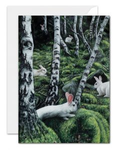 A slient gathering - white rabbits in the forest greeting card