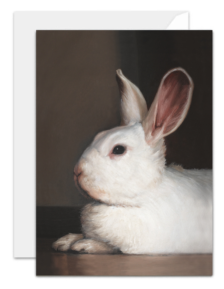 Ellie the white rabbit greeting card