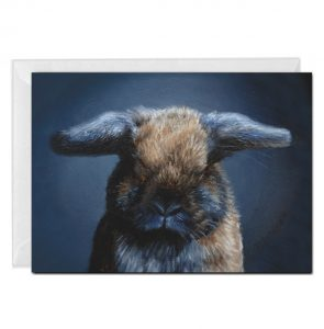 Portrait of an Orphaned rabbit greeting card