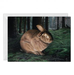 brown rabbit Returns to the Wild greeting card by Rebecca Luncan