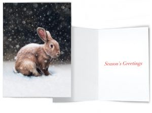 Season's greetings rabbit in snow holiday greeting card by Rebecca Luncan