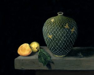 Birds in a net oil on copper still life painting by Rebecca Luncan